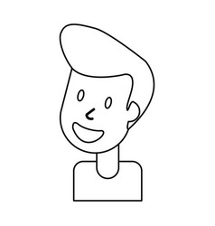 outlined portrait man smile vector image vector image