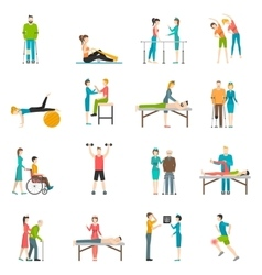 Physiotherapy Rehabilitation Color Icons vector image
