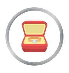 Ring in box icon in cartoon style isolated on vector