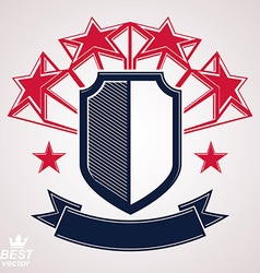 Royal stylized shield with 3d stars vector