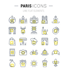 Set flat line icons paris vector
