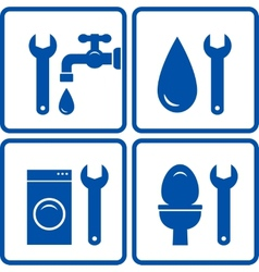 set of plumbing signs vector image vector image