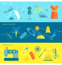 Sewing equipment banner flat vector image vector image