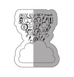 Sticker contour cloud in cumulus shape with set vector