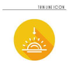 Sun line simple icon weather symbols sunrise vector