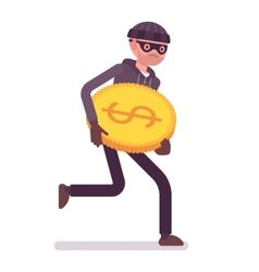 Thief is running away with stolen golden coin vector image