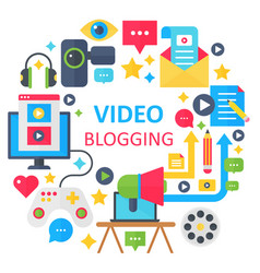 Video blogging flat concept vector