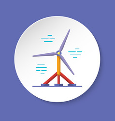 Water turbine icon in flat style on round button vector