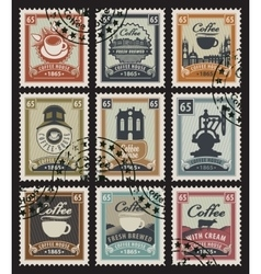 stamps for coffee vector image