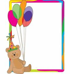 Birthday bear border vector