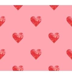 Polygonal red hearts vector