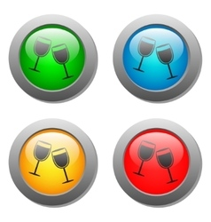 Goblets icon glass button set vector