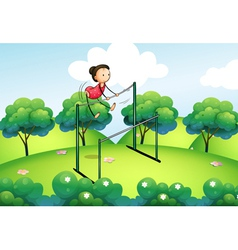 A gymnast at the top of the hills vector image