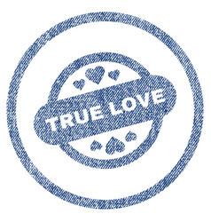 True love stamp seal rounded fabric textured icon vector