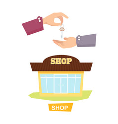 Hand passing key process of buying renting shop vector