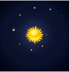 Solar system planets layout vector