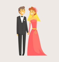 happy wedding couple holding hands romantic vector image