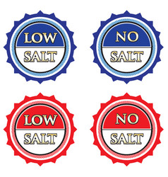 Low and no salt label set vector