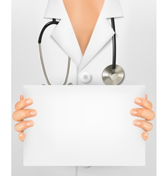 Doctor with stethoscope holding blank sheet of vector image