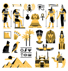 Egypt symbols decorative icons set vector