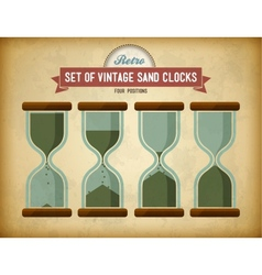 Set of vintage sand clocks on grungy card vector