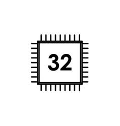 32 bit processor icon vector image
