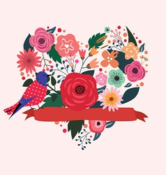 Floral heart and blue bird vector image