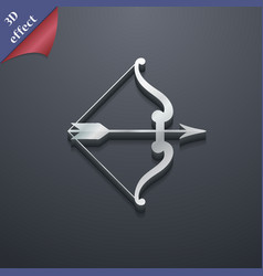 Bow and arrow icon symbol 3d style trendy modern vector