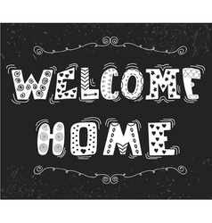 Welcome home text with cute design elements vector