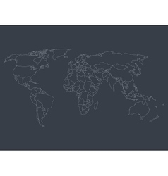 World map with smoothed country borders vector image