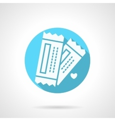 Round blue tickets for couple flat icon vector