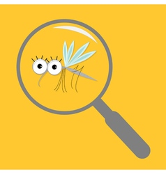Mosquito magnifer research cute cartoon funny vector