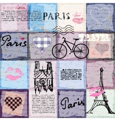 Retro scrapbook collage paris vector