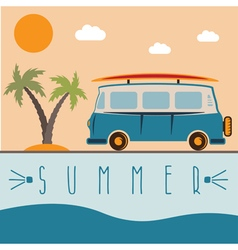 Retro bus with surfboard design template vector