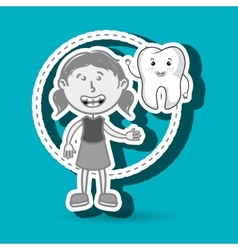 Girl with tooth isolated icon design vector