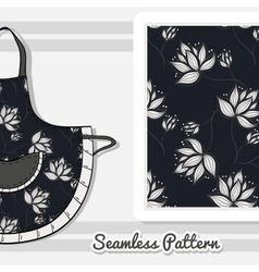 Apron White Flowers On Dark vector image
