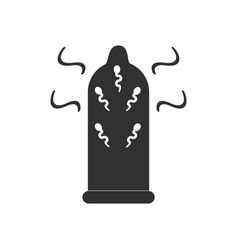 Black icon on white background condom and vector