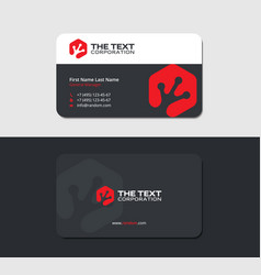Business card with an froggy hand in red hexagon vector