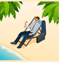Businessman relaxing on his sun lounger on the vector