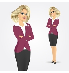 Businesswoman with crossed arms vector