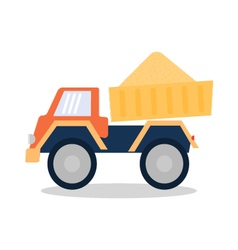 Dump truck with sand in the back vector