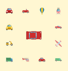 flat icons automobile lorry scooter and other vector image vector image
