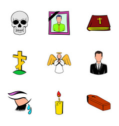 funeral icons set cartoon style vector image