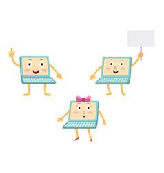 Funny cartoon laptop computer characters vector