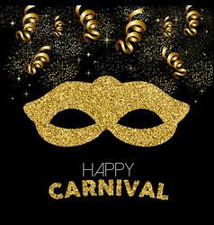 Gold glitter happy carnival mask decoration design vector