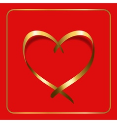 Gold heart ribbon red 1 vector
