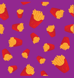 Hand drawn french fries fast food seamless pattern vector