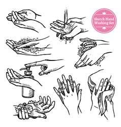Hands washing black white set vector