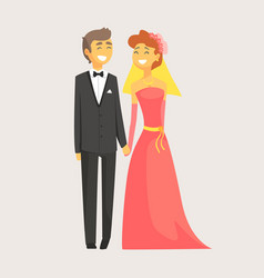 Happy wedding couple holding hands romantic vector