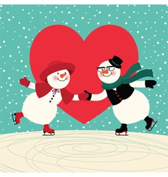 Lovers snowmen at the ice rink vector image
